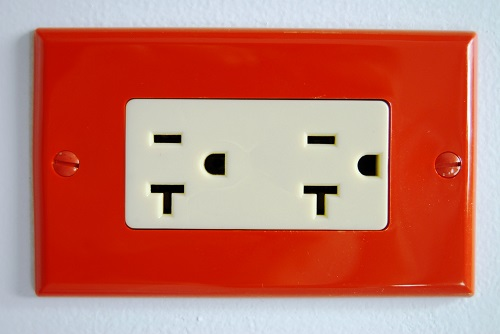 red outlet cover